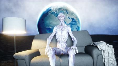 spaceship : funny alien watching TV on the sofa on the moon. Living on the moon concept. Earth background. 3d rendering.