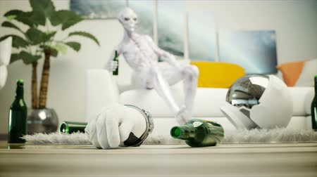 spaceship : Funny alien with beer sit on sofa. Relax. Alien concept. Realistic 4K animation.