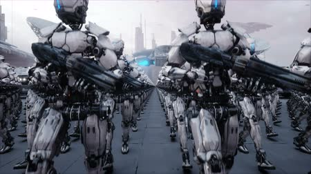 pošta : invasion of military robots. Dramatic apocalypse super realistic concept. Future. 4k animation.