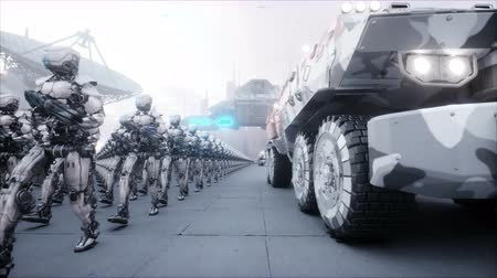 humanidade : invasion of military robots. Dramatic apocalypse super realistic concept. Future. 4k animation.