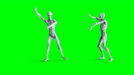 dia das bruxas : Funny alien dancing gangnam style. Realistic motion and skin shaders. 4K green screen footage. Vídeos