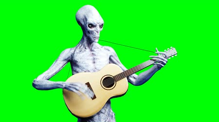 paranormaal : Funny alien plays on acustic guitar. Realistic motion and skin shaders. 4K green screen footage.