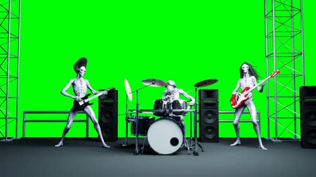 bas : Funny alien rock band. Bass, drum, guitar. Realistic motion and skin shaders. 4K green screen footage. Dostupné videozáznamy
