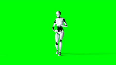 танцоры : Futuristic humanoid female robot is dancing . Realistic motion and reflections. 4K green screen footage. Стоковые видеозаписи