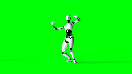shaking hand : Futuristic humanoid female robot is dancing . Realistic motion and reflections. 4K green screen footage. Stock Footage