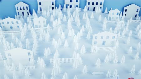 Санта : Paper city on table. Happy new year and xmas concept. Snowman and presents. Realistic 4K animation.