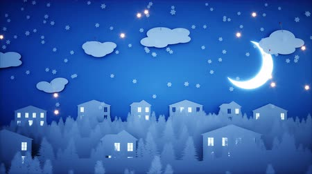 nowe mieszkanie : Winter Paper flat animation. Happy new year and xmas background. Snowfall. Realistic 4K animation.