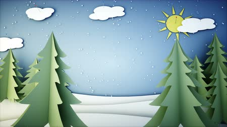 kardan adam : Winter Paper flat animation. Happy new year and xmas background. Snowfall. Realistic 4K animation.