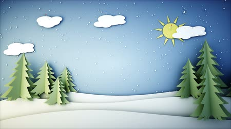 new town : Winter Paper flat animation. Happy new year and xmas background. Snowfall. Realistic 4K animation.