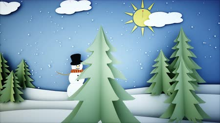 kardan adam : Snowman Paper flat animation. Happy new year and xmas background. Snowfall. Realistic 4K animation. Stok Video