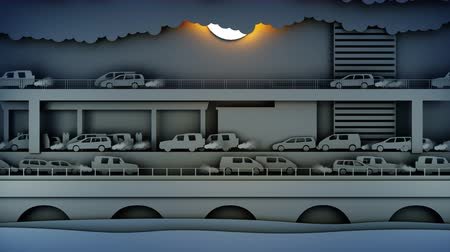 dessin paysage : Paper car pollutes the atmosphere. City in smog. Creative ecological concept. Realistic 4k animation.