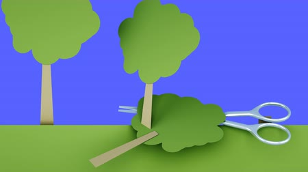 tree stump : deforestation. Paper forest destruction of metal scissors. Creative ecology concept. Realistic 4K animation. Green screen isolate.