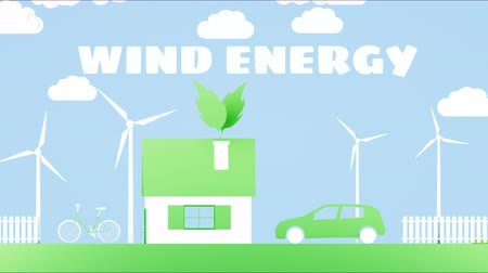 korumak : Paper cartoon home with wind power turbines. Ecological concept. Realistic 4k animation. Stok Video
