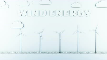 natural world : Paper cartoon landscape with wind power turbines. Ecological concept. Realistic 4k animation.