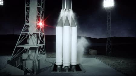 rocket launcher : Rocket before the start animation. Space launch system. Realistic 4k animation. Stock Footage