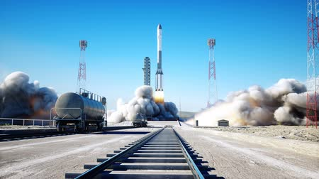 rocket launcher : Rocket launch animation. Daylight. Space launch system. Realistic 4k animation.
