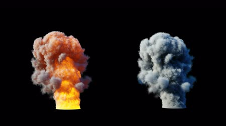 demolition : Big explosion and smoke cloud. Fire isolate. Alpha matte. Realistic 4k animation.