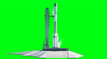střela : Rocket before the start animation. Space launch system. Realistic 4k animation. Green screen isolate.