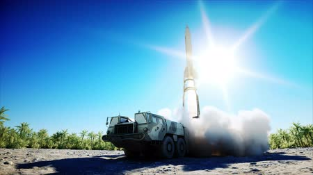 rakieta : Nuclear ballistic rocket, complex. Launch rocket, dust. Realistic 4k animation.