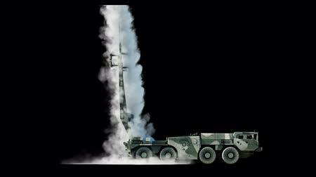 kezdet : Nuclear ballistic rocket, complex. Launch rocket, dust. Isolate. Realistic 4k animation.