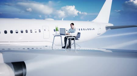 webinar : Young busy businessman working on the flying airplane. African male looking into the screen of the laptop on the desk. Creative workspace concept. Realistic 4k animation.