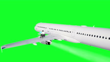 webinar : Young busy businessman working on the flying airplane. African male looking into the screen of the laptop on the desk. Creative workspace concept. Green screen. Realistic 4k animation.