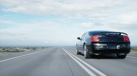 travell : Black luxury car on road, highway. Daylight. Very fast driving. Realistic 4k animation.