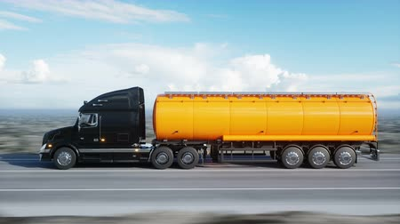 доставлять : Gasoline tanker, Oil trailer, truck on highway. Very fast driving. Realistic 4k animation. Oil concept.