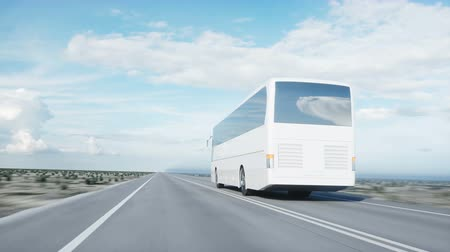 ônibus : tourist white bus on the road, highway. Very fast driving. Touristic and travel concept. realistic 4k animation.