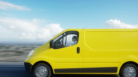 доставлять : Yellow delivery van on highway. Very fast driving. Transport and logistic concept. Realistic 4k animation.