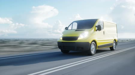 courrier : Yellow delivery van on highway. Very fast driving. Transport and logistic concept. Realistic 4k animation.