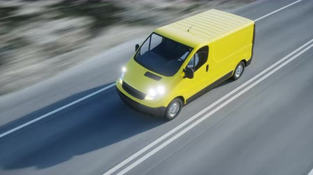 курьер : Yellow delivery van on highway. Very fast driving. Transport and logistic concept. Realistic 4k animation.