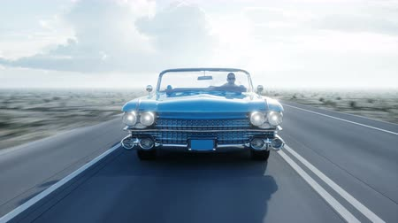 přední : Blue vintage, retro car on road, highway. Daylight. Very fast driving. Realistic 4k animation.