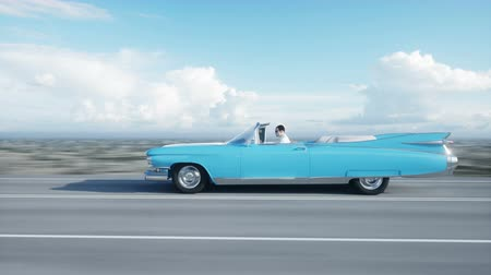 travell : Blue vintage, retro car on road, highway. Daylight. Very fast driving. Realistic 4k animation.