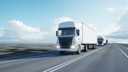 camionagem : convoy of white trucks. semi trailer on the road, highway. Transports, logistics concept. 4K realistic animation.