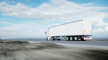 camionagem : white truck. semi trailer on the road, highway. Transports, logistics concept. 4K realistic loopable animation.