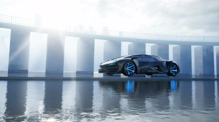 super car : black futuristic electric car on seafront. Urban fog. Concept of future. Realistic 4k animation. Stock Footage