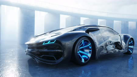 nem városi színhely : black futuristic electric car on seafront. Urban fog. Concept of future. Realistic 4k animation. Stock mozgókép