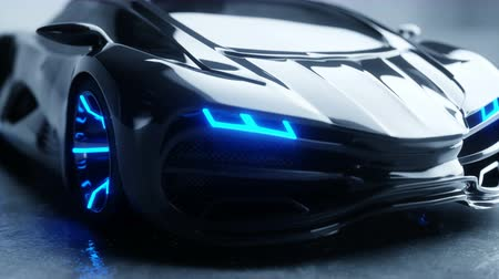 super car : black futuristic electric car with blue light. Concept of future. Realistic 4k animation.