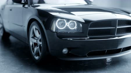 shiny : Black luxury car in studio. Realistic 4k animation. Stock Footage