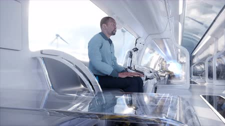 ficção : People and robots. Futuristic monorail transport. Concept of future. Realistic 4K animation.