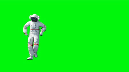 astronauta : Funny astronaut dancing . Green screen. Realistic 4k animation. Wideo