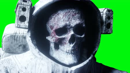 blood moon : Dead zombie astronaut in space. Cadaver. Green screen. Realistic 4k animation.