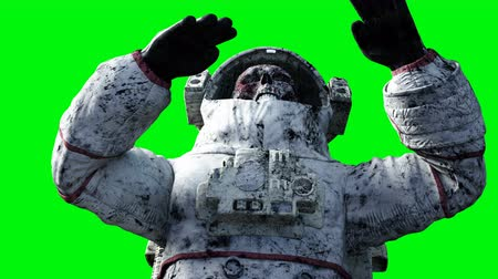 koponya : Dead zombie astronaut in space. Cadaver. Green screen. Realistic 4k animation.