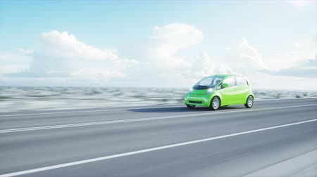 melez : 3d model of electric green car with 3d model of man. Render. Ecology concept. Realistic 4K animation.