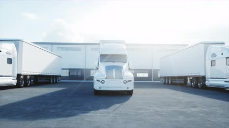 speedway : Logistics center with white 3d model of trucks. Logistic, transport and business concept. Realistic cinematic 4K animation.