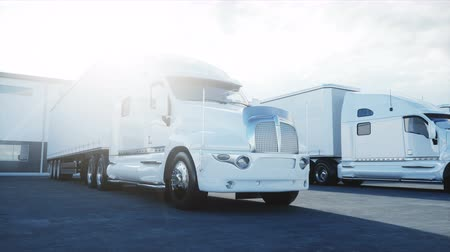 koncepció : Logistics center with white 3d model of trucks. Logistic, transport and business concept. Realistic cinematic 4K animation.