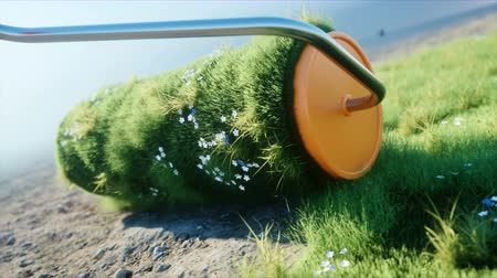 turf : A roll of grass on the earth with butterflies. Brush of grass. Ecology concept. Realistic 4K animation.