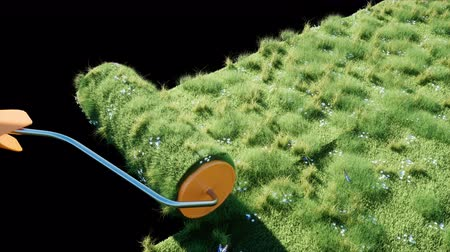 turf : A roll of grass on the earth with butterflies. Brush of grass. Ecology concept. Isolate with alpha matte. Realistic 4K animation.