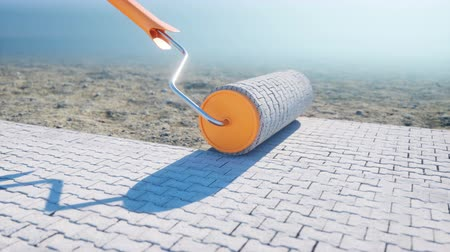 valoun : A roll of paving slab. Brush of paving slab. Building concept. Realistic 4K animation.